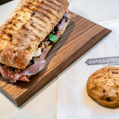 Sam's General Store - Roast Beef & Mozzarella sandwich & housemade Chocolate Chip Cookie