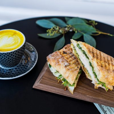 Sam's General Store - Sam's Gold Latte (Turmeric) & Turkey Pesto Sandwich