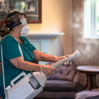 COVID-19 Safety.Room Fogger Disinfects Guest Rooms Between Stays